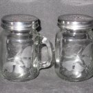 NEW ETCHED BUTTERFLY GLASS SALT & PEPPER SHAKERS