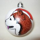 NEW HANDPAINTED ALASKAN MALAMUTE SANTA CLAUS UNBREAKABLE CHRISTMAS BALL ORNAMENT