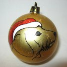 NEW HANDPAINTED WIRE HAIRED DACHSHUND SANTA CLAUS UNBREAKABLE CHRISTMAS BALL ORNAMENT