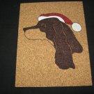 NEW HANDPAINTED GORDON SETTER CHRISTMAS SANTA CLAUS CORK ON TILE TRIVET