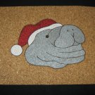 NEW HANDPAINTED MANATEE CHRISTMAS SANTA CLAUS CORK ON TILE TRIVET