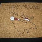 NEW HANDPAINTED MOOSE CHRISTMAS SANTA CLAUS CORK ON TILE TRIVET