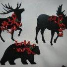VINTAGE SET OF 3 BLACK METAL REINDEER MOOSE BEAR CHRISTMAS TREE ORNAMENT