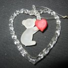 VINTAGE FROSTED GLASS TEDDY BEAR HEART CHRISTMAS TREE ORNAMENT