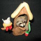 VINTAGE 1984 HALLMARK RACCOON IN TREE CHRISTMAS TREE ORNAMENT