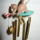 VINTAGE 1990 SQUIRREL ACORN WIND CHIMES CHRISTMAS TREE ORNAMENT