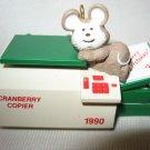 VINTAGE 1990 HALLMARK CRANBERRYY COPIER  MOUSE CHRISTMAS TREE ORNAMENT