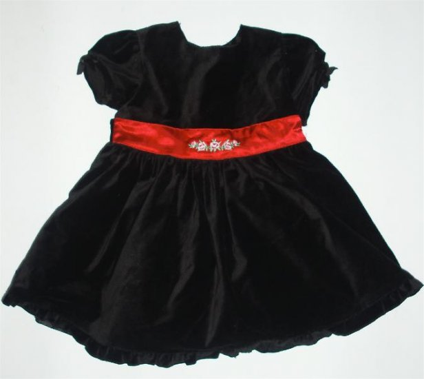 Infant Baby girl Black Velvet christmas Dress 18 m EUC