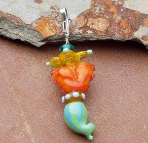 Tiddlywinks totem Lampwork Pendant, cute, original , fun
