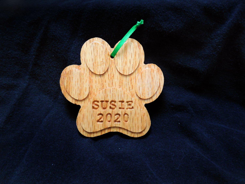 Custom Dog Paw Christmas Tree Ornament - Pet Keepsake