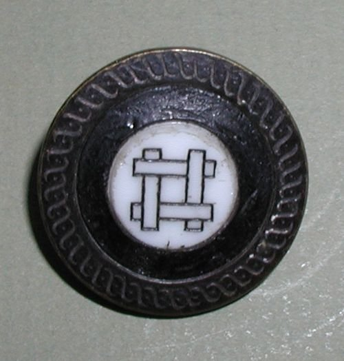 "Milk Glass Set in Metal Button 1"" Marked Feine Quality"