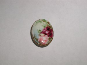 Hand Painted Porcelain Oval button Pink and Ruby Roses