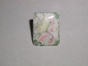 Unusual Hand Painted Porcelain Button Pink & Yellow Roses