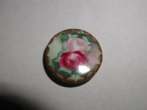 Hand Painted Porcelain Button Pink and Ruby Roses 1 1/16""