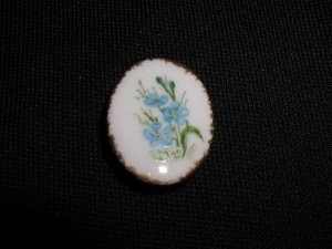 Hand Painted Porcelain Oval Button Blue Forget Me Nots signed
