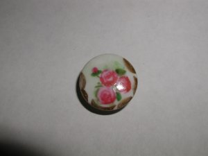 """Hand Painted Porcelain 3 Roses and a Bud 7/8"""""""