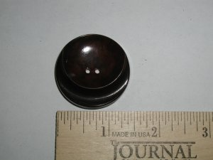 Brown Bakelite Marbled Smile Button