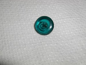 Antiquarian Clear Teal Glass Impressed Star Button