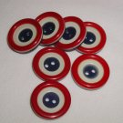 7 Vintage Patriotic Red White & Blue Laminated buttons