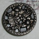 Silver Metal Mirror Back Button with Butterfly among the flowers