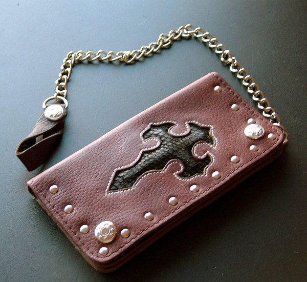 Brown Leather with Black Cobraskin Inlay w chain