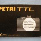 Vintage Petri TTL Original Black Instruction Manual