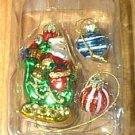 3 Blown Glass Santa in Sleigh 2 Tiny Striped Balls NEW