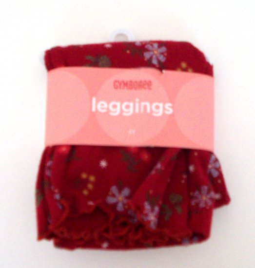 GYMBOREE NWT Mountain Cabin Red Floral Leggings 2T