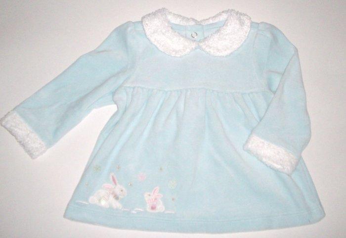 GYMBOREE NWT Snow Princess Blue Velour Top 6-12m
