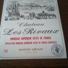 Château Les Rivaux Bordeaux Supérieur Côte Des Francs 1985 wine label.