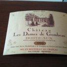 Wine Label Château Les Dames De Gombeau Bordeaux 1996 New