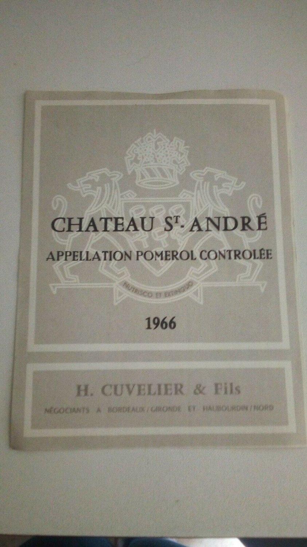 Wine Label Château Saint André Pomerol 1966 New