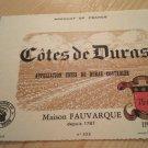 New Côtes De Duras Wine Label
