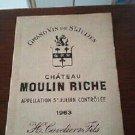 Wine Label Château Moulin Riche Saint Julien 1963 New