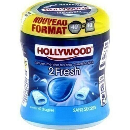 lot 3 fresh & strong mint chewing gum without sugar 88 g 40 hollywood dragees