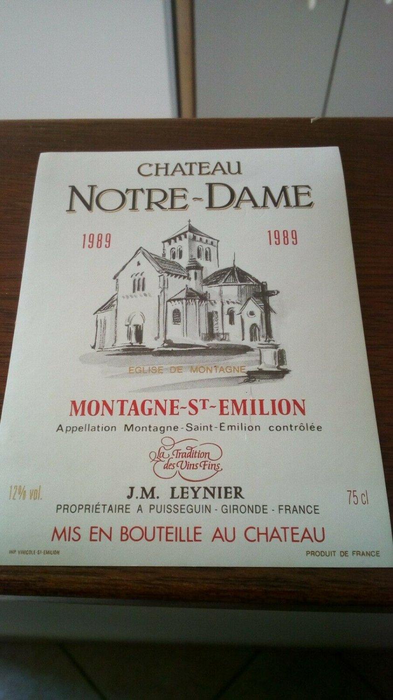 Wine Label Château Notre Dame Montagne Saint �milion 1989 New