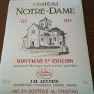 Wine Label Château Notre Dame Montagne Saint Émilion 1989 New