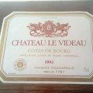 Wine Label Château Le Videau Cote De Bourg 1985 New
