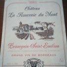 Wine Label La Roseraie Du Mont Puissegain Saint Émilion 1981 New