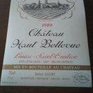 Wine Label Château Haut Bellevue Lussac Saint Emilion 1989 New