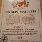 Wine label Les Sept Maillets Bordeaux 1983