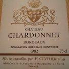 Château Chardonnet Bordeaux 1982 wine labels