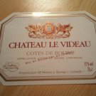 Château Le Videau Côtes De Bourg wine label