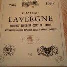 Wine label Château La Vergne Bordeaux Supérieur Côte De Franc 1983
