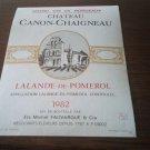 Wine Label Château Canon Chaigneau Lalande De Pomerol 1982 New