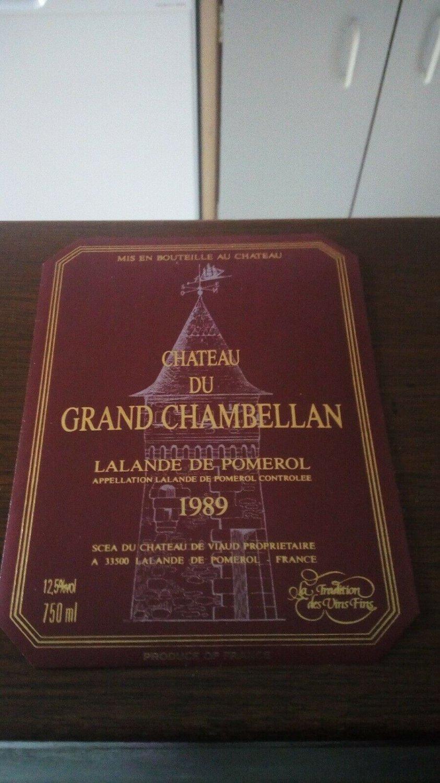 Wine Label Château Grand Chambellan Lalande De Pomerol 1989 New