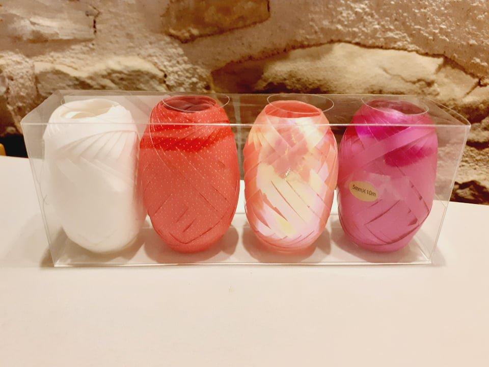set of 4 white red pink and fuschia bolducs