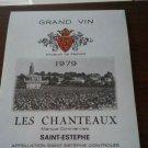 Wine Label Les Chanteaux Saint Estephe 1979 Mint