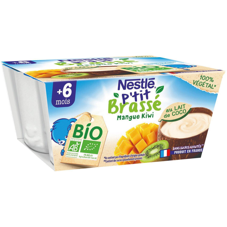 lot 3x6 Dessert baby +6 months organic coconut milk mango & kiwi P'TIT BRASSE 90 gr