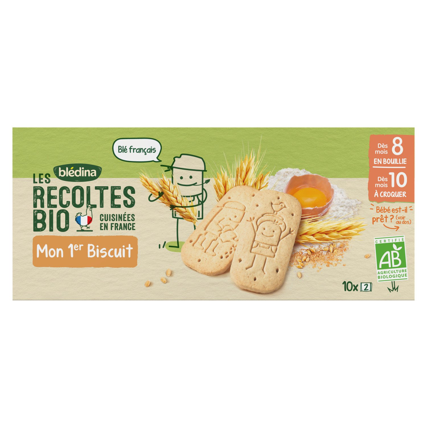 lot 3 organic baby biscuits from 8/10 months BLEDINA 150 gr